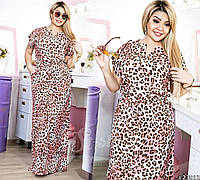 Шикарное платье в пол в леопардовый принт.Талия изящно оформлена тонким поясом, который завязывается в узел.