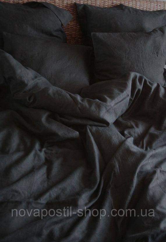 Евро комплект льняного постельного белья Black