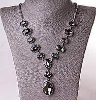 """Колье из чешского стекла""""Серый кристалл""""(60 см)"""