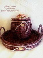 Набор для кухни -поднос и боченок плетеные