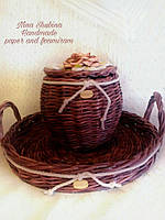 Набор для кухни -поднос и боченок плетеные, фото 1