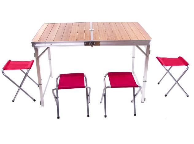 Стіл туристичний GreenCamp, бамбук,алюміній, 4 стільця, GC-9001