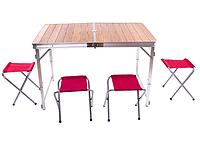 Стіл туристичний GreenCamp, бамбук,алюміній, 4 стільця, GC-9001, фото 1