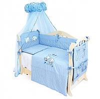 Детский постельный комплект Twins Evolution Кошка и Щенок A-03 4 предметов, голубой