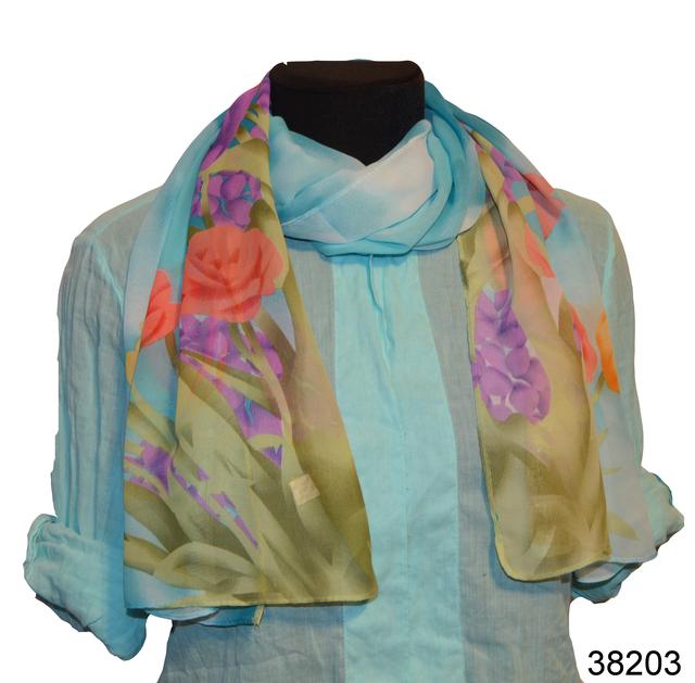 Модный весенний шифоновый шарф Тюльпан голубой 1