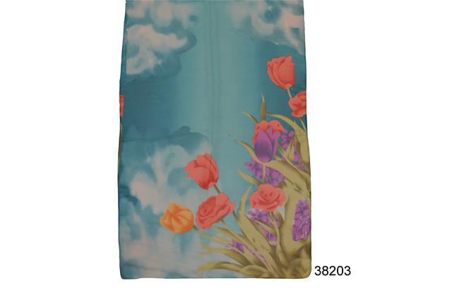 Модный весенний шифоновый шарф Тюльпан голубой 2
