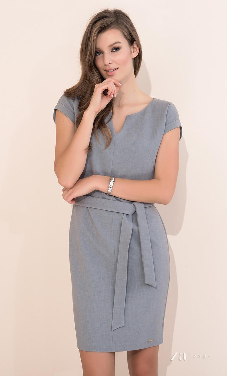 76020f10046 Купить Летнее офисное платье серого цвета с поясом