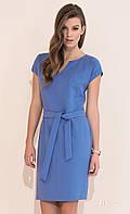 Летнее офисное платье голубого цвета с поясом, короткий рукав. Модель Marita, коллекция весна-лето 2017.