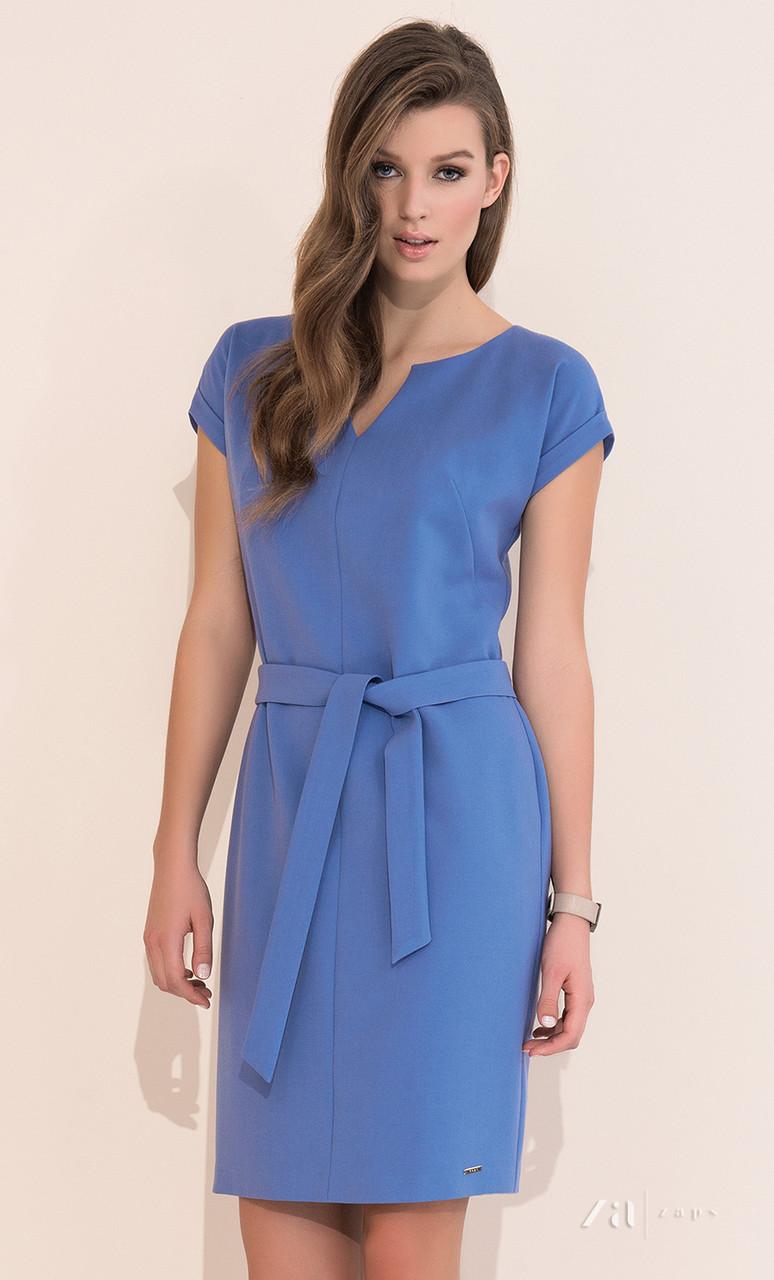 5b201381d1a Летнее офисное платье голубого цвета с поясом
