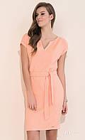 Женское платье персикового цвета с поясом, короткий рукав. Модель Marita, коллекция весна-лето 2017.