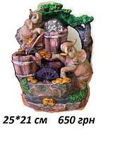 Фонтан декоративный комнатный настольный садовый домашний Пара влюбленных слонов в Раю подсветка шарика 25 см