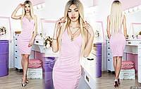 Женское стильное облегающее платье 068 / розовое