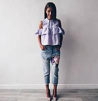 Блуза-рубашка с открытыми плечами и воланом 936 НН!