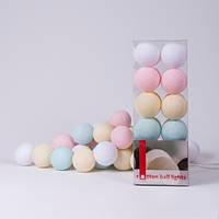 Гірлянда Cottonballlights 10 кульок /батарейки/ mix