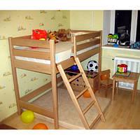 Двухъярусная кровать-чердак из бука «Ирель» высота — 122см
