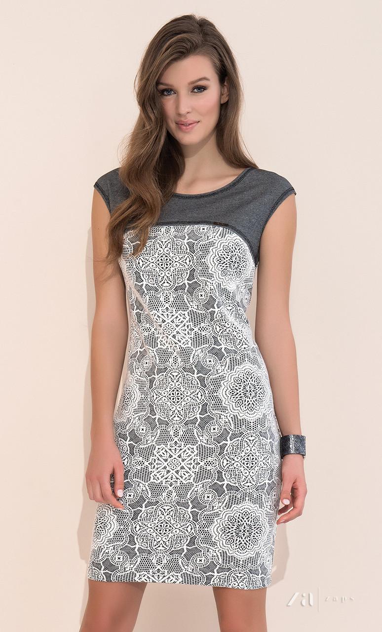 Стильное летнее платье из вискозы серого цвета с коротким рукавом. Модель Paulina Zaps.