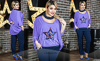 Шикарный комплект для стильных и креативных личностей. Блузка асимметричного кроя и полуприталеные брюки., фото 2