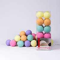 Гірлянда Cottonballlights 20 кульок /батарейки/ mix
