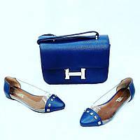 Сумочка+обувь CHANEL. Цвет: синий