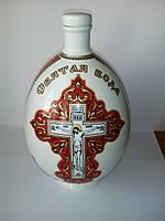"""Графин (бутылка) для святой воды фарфор с распятием и молитвой """"Отче наш"""", 1 литр, красный, фото 1"""