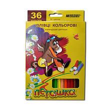 """Олівці кольорові """"Пегашка"""", 36 кольорів, шестикутні, 2,9 мм"""