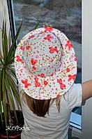 Хлопковая шляпка-панама для девочки коралл