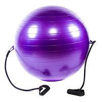 Мяч для фитнеса (фитбол) антиразрыв с эспандером IRONMASTER ANTI-BURST (фиолетовый)