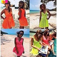Платье летнее Гипюр +подкладка. Цвета: малина неон, оранжевый неон, желтый неон. ля № текила