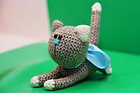 Игрушка котик ручной работы, связаный крючком