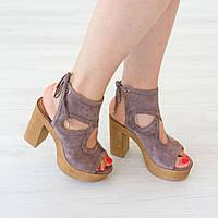 Босоножки Woman's heel бежевые (О-789), фото 1