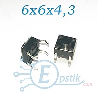 Кнопка тактовая, 6x6x4.3мм. DIP