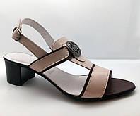 Женские босоножки на широком каблуке, бордо + латте