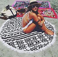 Пляжный коврик круглый с орнаментом Мандала Черная