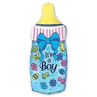 Фольгированные шары фигура бутылка голубая