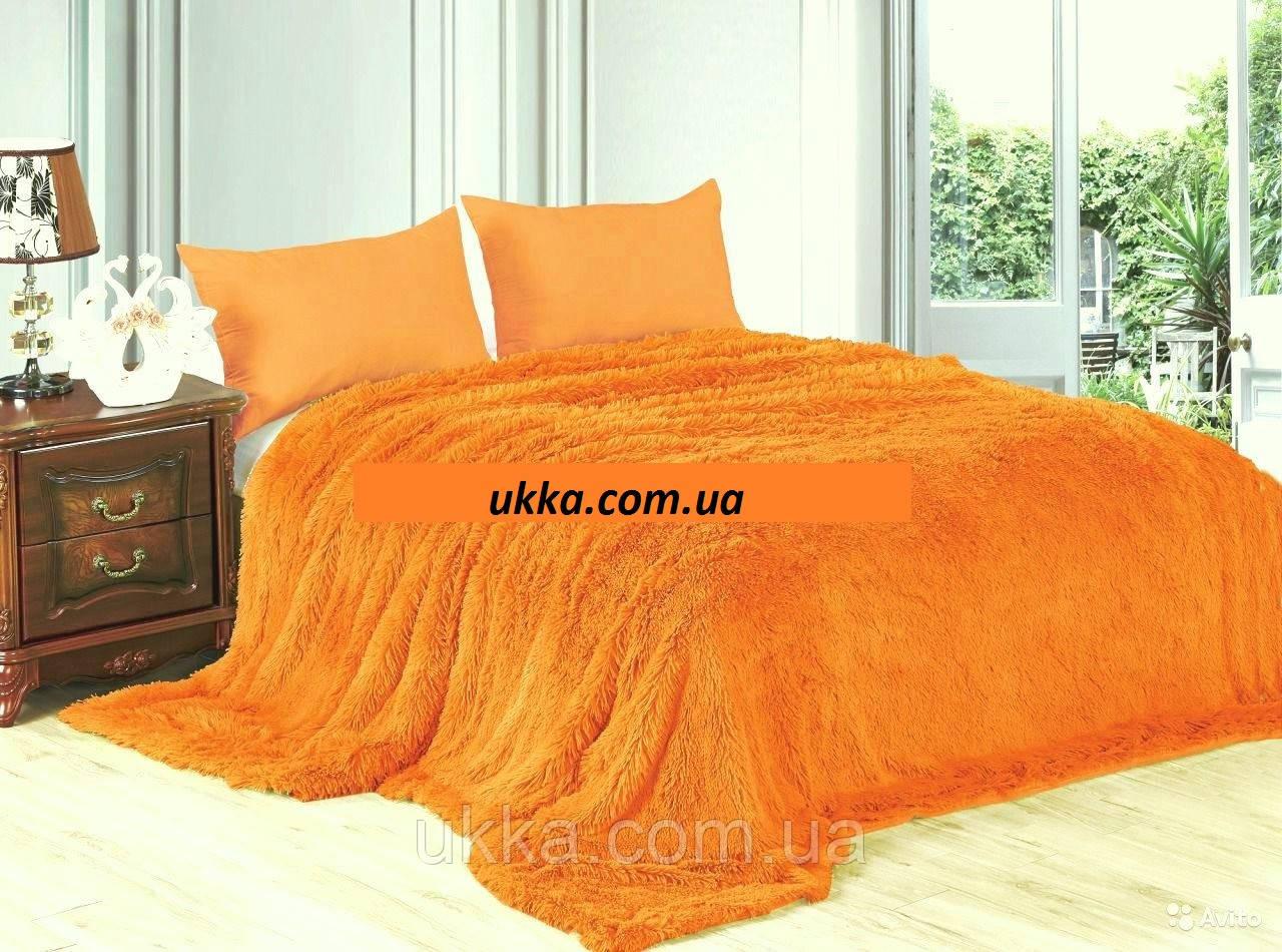Покрывало меховое с большим ворсом Оранжевое 220х240