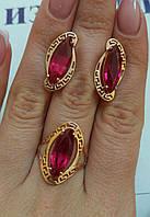 Золотые серьги с рубинами, фото 1