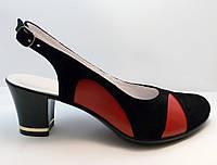Женские замшевые босоножки, вставки красная кожа в наличии 37р.