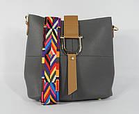 Стильная серая сумочка 2 в 1 с клатчем 2235-3