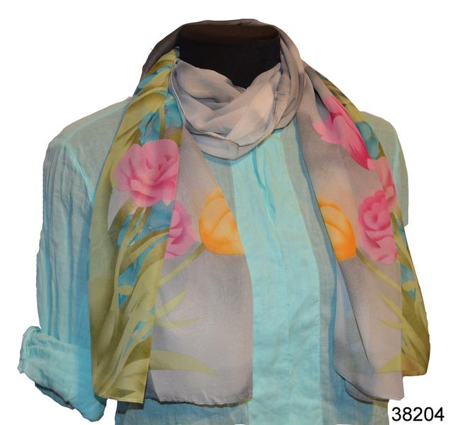 Модный весенний шифоновый шарф Тюльпан серый 1