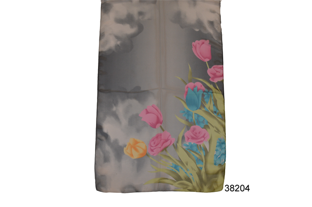 Модный весенний шифоновый шарф Тюльпан серый 2