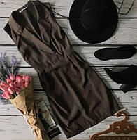 Стильное платье на запах с классическими лацканами и сборками на талии  DR39048
