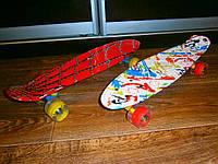 Скейт борд, Пенни борд 22 дюйма с ярким принтом и светящимися колесами, фото 1