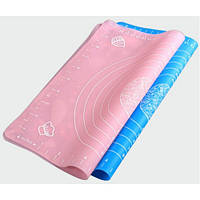 Силиконовый коврик для раскатки теста (40*50 см) розовый,голубой, фото 1