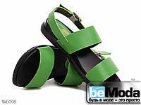 Стильные женские босоножки Mengting Green из экокожи без каблука зеленые