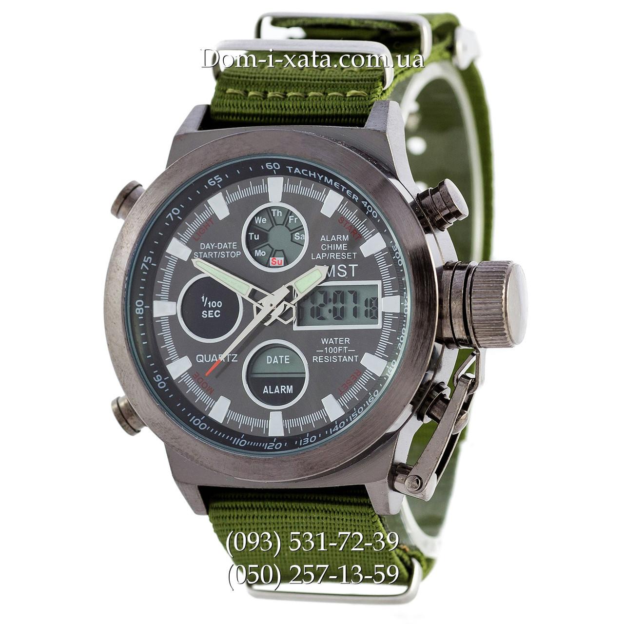 Армейские часы AMST 3003 Black-Green, кварцевые, противоударные, армейские часы АМСТ черный-зеленый, реплика, отличное качество!