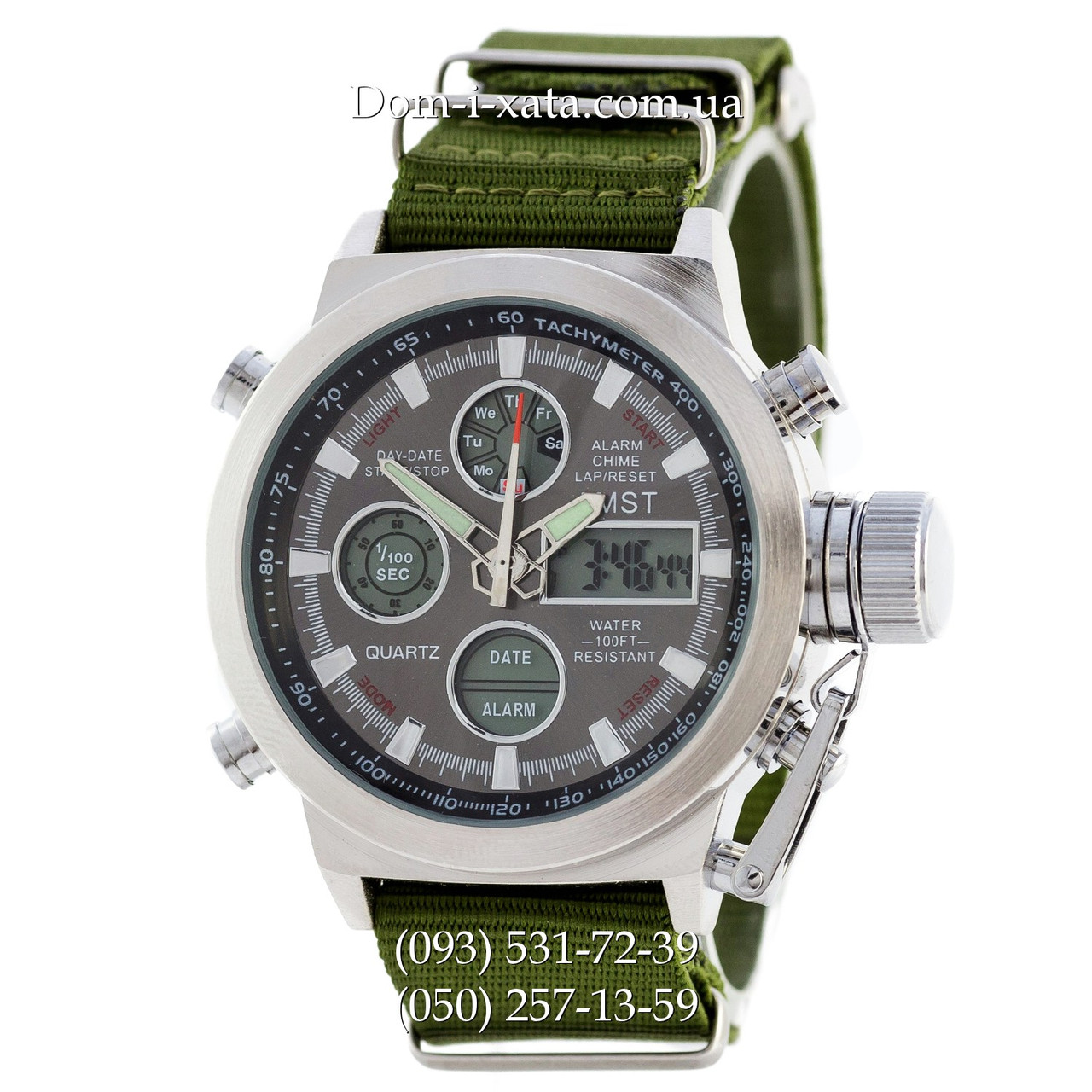 Армейские часы AMST 3003 Silver-Black Green, кварцевые, противоударные, армейские часы АМСТ, реплика, отличное качество!