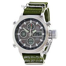 Армейские часы AMST 3003 Silver-Black Green, кварцевые, противоударные, армейские часы АМСТ, реплика