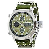 Армейские часы AMST 3003 Silver-Green, кварцевые, противоударные, армейские часы АМСТ серебристо-зеленые