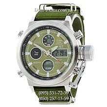 Армейские часы AMST 3003 Silver-Green, кварцевые, противоударные, армейские часы АМСТ серебристо-зеленые, реплика