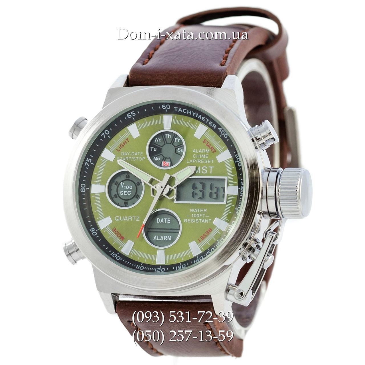 Армейские часы AMST 3003 Silver-Green, кварцевые, армейские часы АМСТ, реплика, отличное качество!